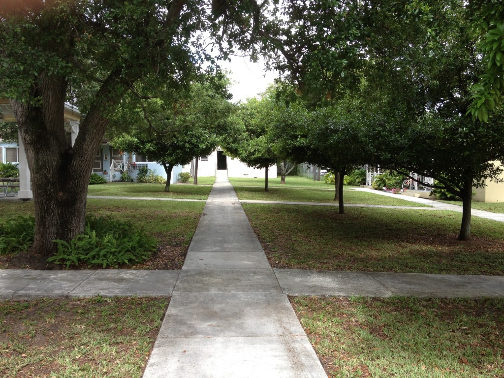 Paths connect the small multifamily cottages.
