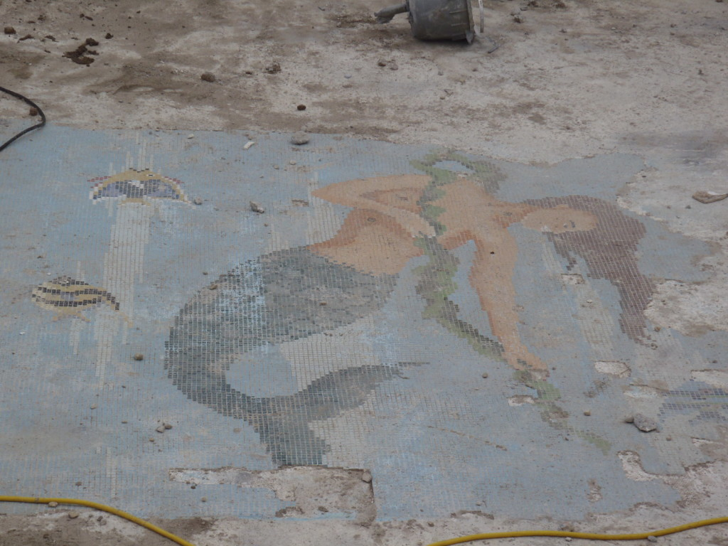 The mermaid is too badly damaged to be restored, however a local artist will make an exact replica using the exact some tiles found in Italy.