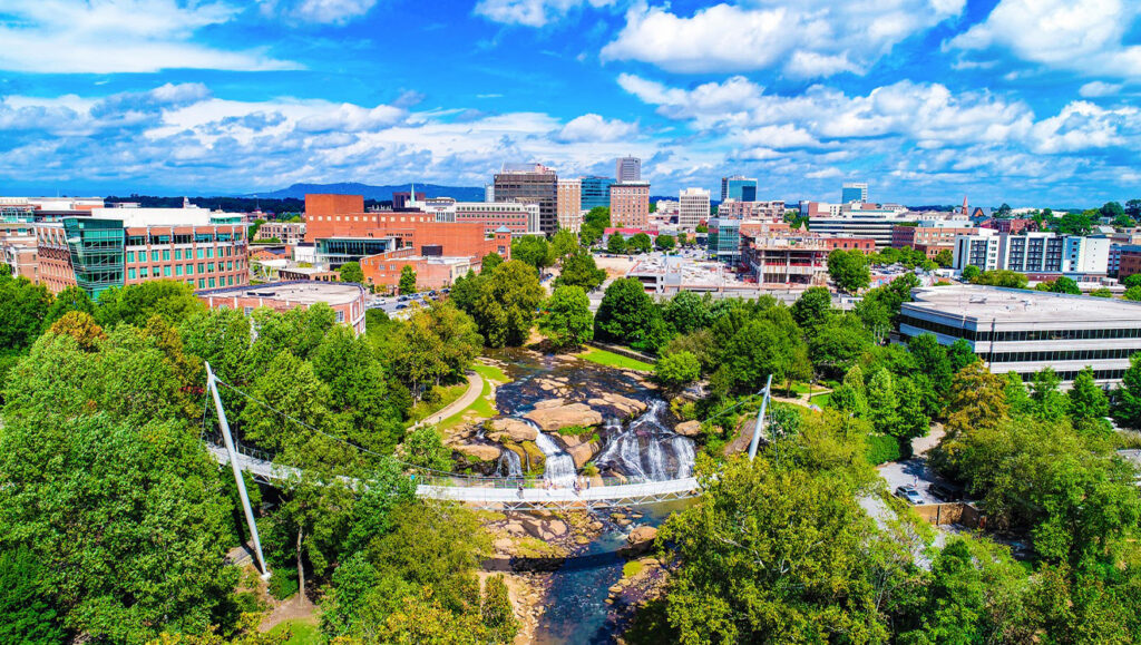 Liberty Bridge at Falls Park in Downtown Greenville, SC