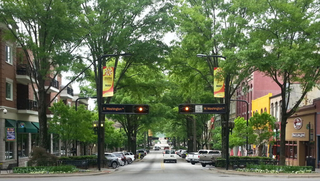 Tree-lined streets of downtown Greenville, SC